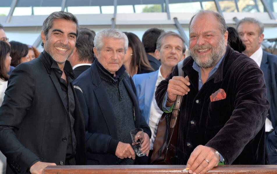 """Ary Abittan, Claude Lelouch et Eric Dupond-Moretti, lors de la soirée de gala de la """"Maud Fontenoy Fondation"""" à bord de la péniche Ducasse sur Seine, à Paris, le 6 juin 2019."""