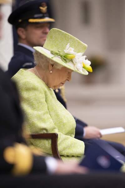 La reine Elisabeth II assiste à un service pour marquer le centenaire de la Royal Australian Air Force au CWGC Air Forces Memorial à Runnymede, Royaume Uni, le 31 mars 2021.