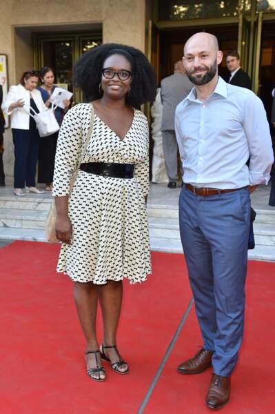 """Sibeth Ndiaye et son mari Patrice Roques au 25ème gala """"Musique contre l'oubli"""" donné au profit d'Amnesty International au théâtre des Champs-Elysées à Paris le 2 juillet 2019"""