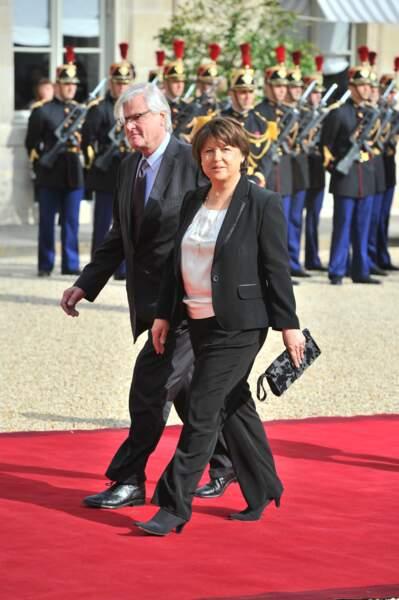 Jean-Louis Brochen et Martine Aubry lors de l'investiture de François Hollande, en mai 2012.