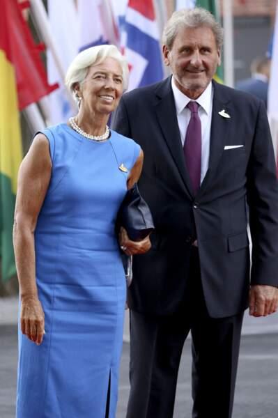 Christine Lagarde et son compagnon  Xavier Giocanti au concert de la Neuvième Symphonie de Beethoven à l'Elbphilharmonie de Hamburg, Allemagne, le 7 juillet 2017