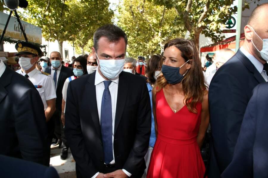Olivier Veran et Coralie Dubost à la Grande-Motte, en présence de Jean Castex, le 11 Août 2020.