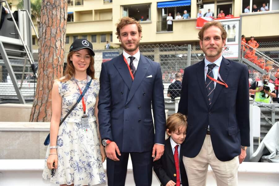 Alexandra de Hanovre, Pierre Casiraghi et leur neveu Sacha le 27 mai 2018 à Monaco