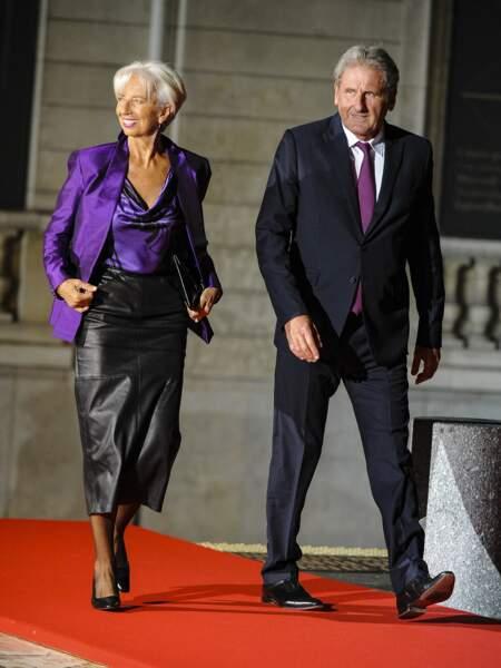 Christine Lagarde et son compagnon Xavier Giocanti lors de la cérémonie internationale du centenaire de l'armistice de 1918 au Musée d'Orsay à Paris, le 10 novembre 2018