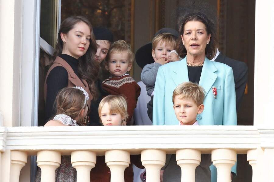 Alexandra de Hanovre, Béatrice Borromeo et son fils Francesco, Caroline de Hanovre et ses petits-enfants Maximilian, India, Stefano et Sacha le 19 novembre 2019 à Monaco