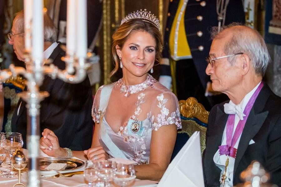 """La princesse Madeleine de Suède, lors du """"Dîner du roi"""" en l'honneur du Prix Nobel, à Stockholm, le 11 décembre 2019."""