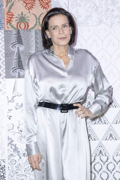 """Stéphanie de Monaco, lors d'un défilé de mode prêt-à-porter """"Alter"""", à Paris, le 25 février 2020."""