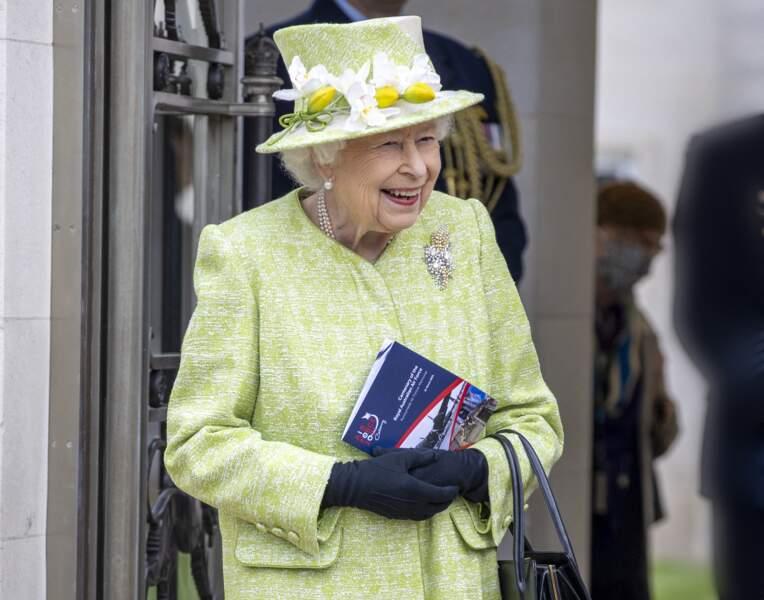 La reine Elizabeth II, lors d'une célébration militaire le 31 mars 2021.