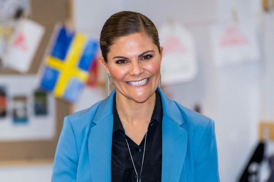 La princesse Victoria de Suède, lors d'une visite d'école, à Eskilstuna, le 22 octobre 2020.
