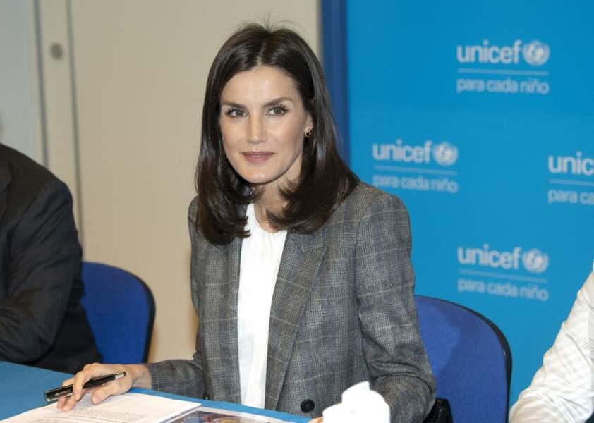 La reine Letizia d'Espagne, lors d'une réunion de travail avec la Fondation Unicef à Madrid, le 19 février 2020.