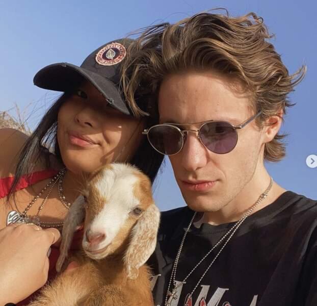 Jade Hallyday et son ami Tristan, le 27 décembre 2020.