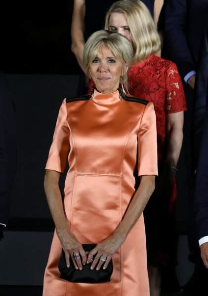 Brigitte Macron en tenue flashy à osaka en juin 2019.