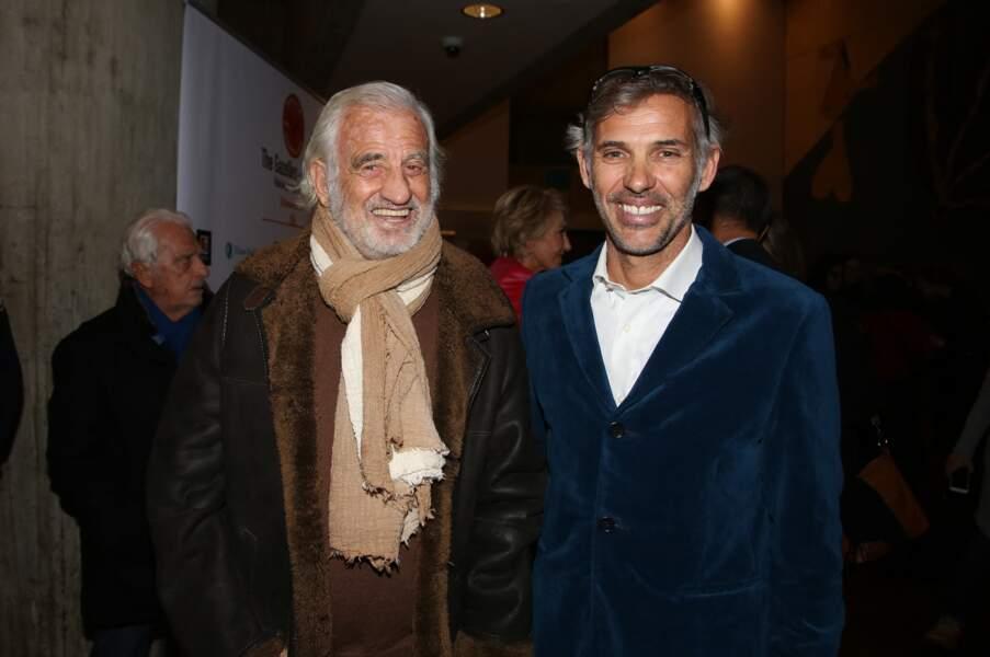 Jean-Paul Belmondo et son fils Paul Belmondo à Paris le 24 novembre 2017