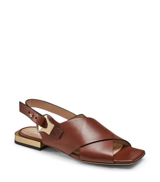 "Sandales en cuir marron ""Magenta Code 06"", Fratelli Rossetti, 490 euros."