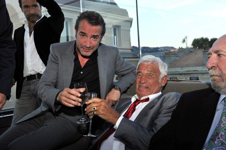 Jean Dujardin et Jean-Paul Belmondo à Cannes le 31 mai 2014