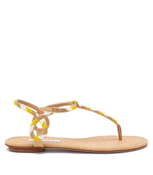 """Sandales en cuir et raphia """"Almost Bare"""", Aquazurra de Matchesfashion, 475€."""