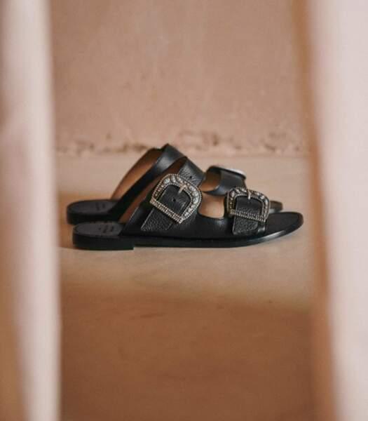 """Mules en cuir noir """"Jade"""", Sézane, 160 euros."""