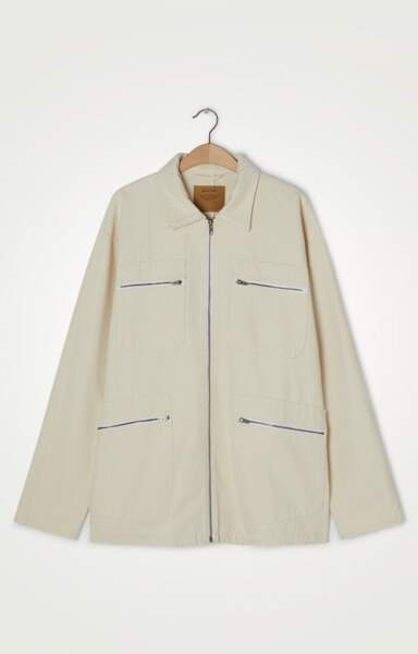 Veste en jean mi-longue droite manches longues, col chemise zippée, 160€, American Vintage