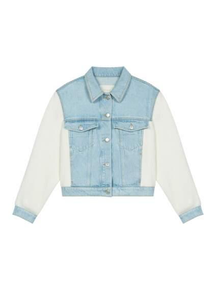 Veste en jean et maille, 275€, Maje Paris