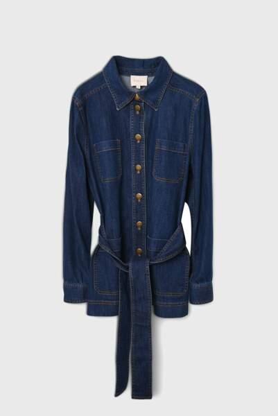 Veste en jean droite avec ceinture, 195€, Pablo sur Galeries Lafayette