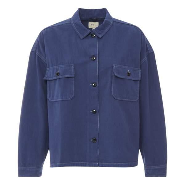 Sur chemise en jean Parrish Coton et Lin - Collection Femme , bleu marine, 149€, Bellerose sur Smallable