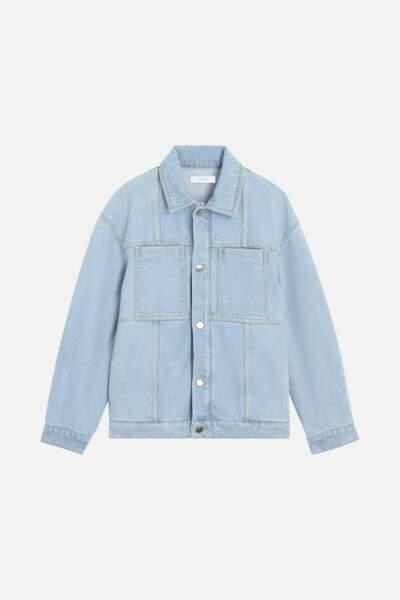 Veste en jean bando denim bio bleu clair, 290€, Roseanna sur smallable