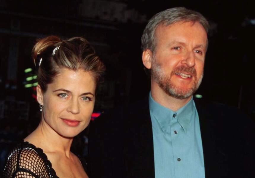 """Linda Hamilton et James Cameron à l'avant-première de """"The Mighty"""", le 7 octobre 1998 à Century City en Californie"""