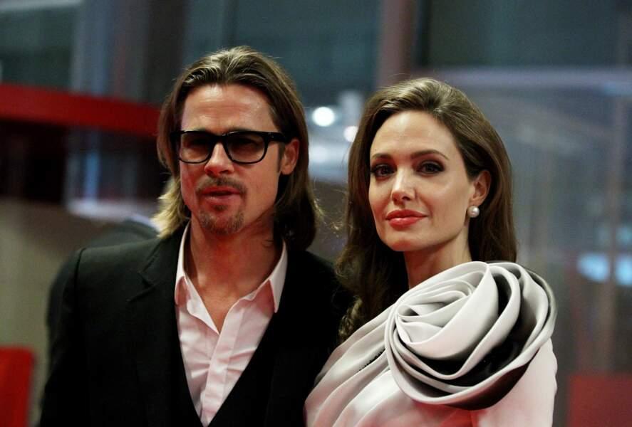 """Angelina Jolie et Brad Pitt à l'avant-première du film """"Au pays du sang et du miel"""", à Paris"""