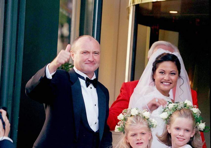 Phil Collins et Orianne Cevey lors de leur mariage à l'hôtel Beau-Rivage à Lausanne, en 1999