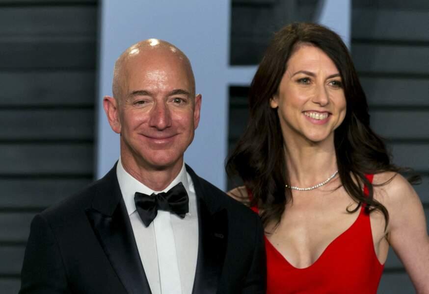 Jeff Bezos et MacKenzie Bezos à la soirée des Oscars organisée par Vanity Fair, au Wallis Annenberg Center for the Performing Arts à Beverly Hills, le 4 mars 2018