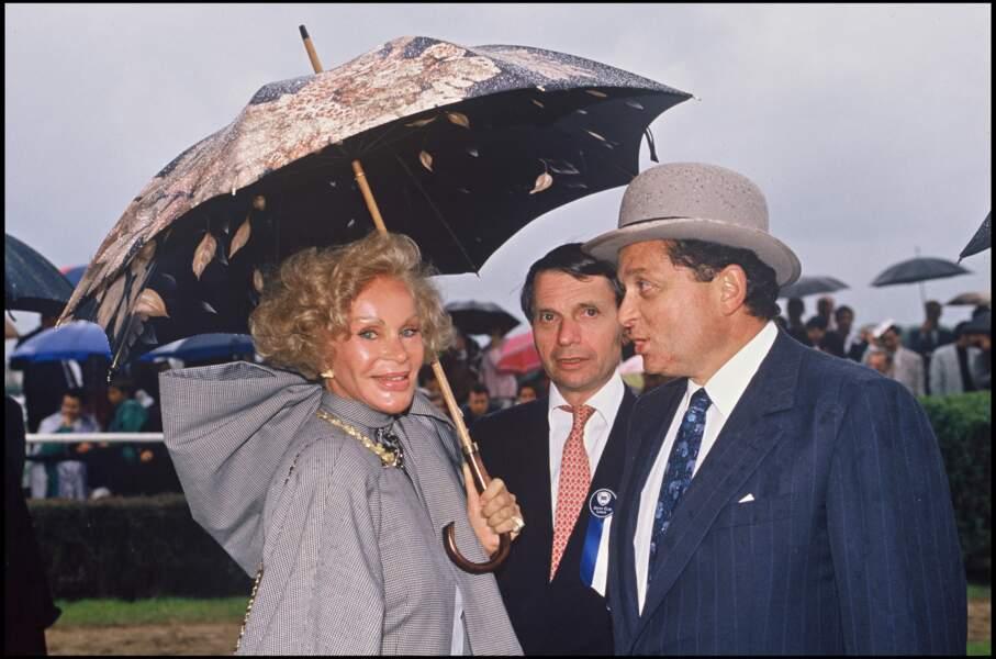 Jocelyn Wildenstein et Alec Wildenstein au prix du jockey club à Chantilly, le 1er juin 1990