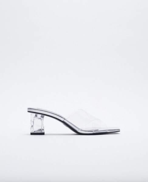 Mules transparentes à talon irrégulier, Zara, 39,95 €