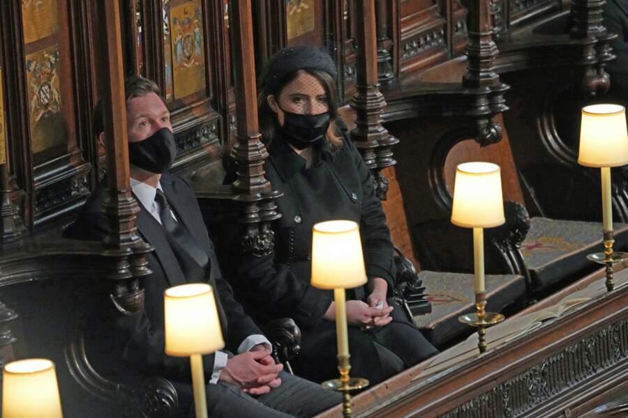 La princesse Eugenie, aux côtés de son époux Jack Brooksbank aux funérailles du prince Philip, le 17 avril 2021.