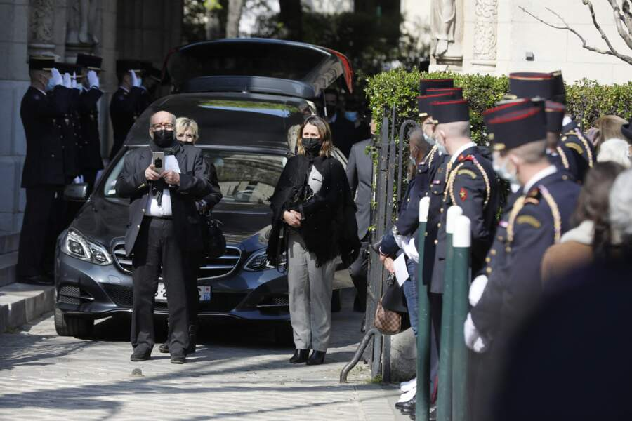 Patrick Laroche-Joubert, avec Alexia laroche-Joubert, aux obsèques d'Andreas Laroche-Joubert, aux funérailles d'Andreas, ce 19 avril 2021.