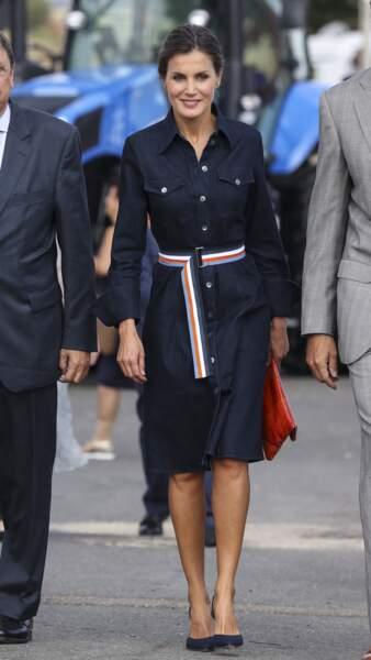 La reine Letizia d'Espagne dans sa robe Hugo Boss le 5 septembre 2018.