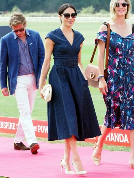 Meghan Markle ancienne Duchesse de Sussex à Windsor au Royaume-Uni, le 26 juillet 2018 dans une robe similaire à celle de Letizia d'Espagne