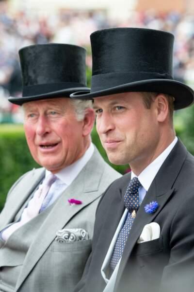 Le prince Charles et le prince William à Ascot en juin 2019