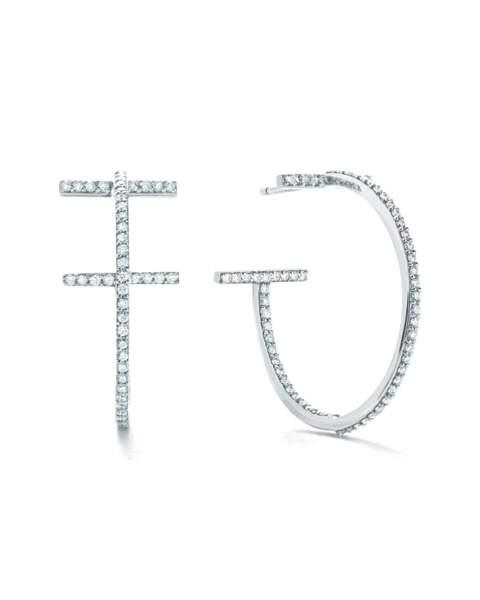 Boucles d'oreilles créoles ornées de diamants en or blanc 18 carats, 7 100€, Tiffany & Co