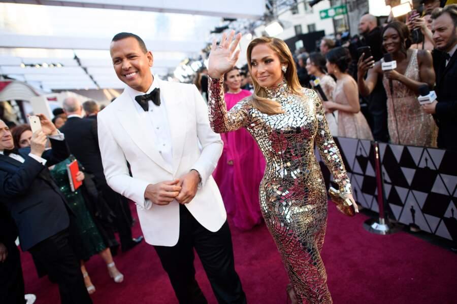 Alex Rodriguez et Jennifer Lopez lors de la 91e cérémonie des Oscars.