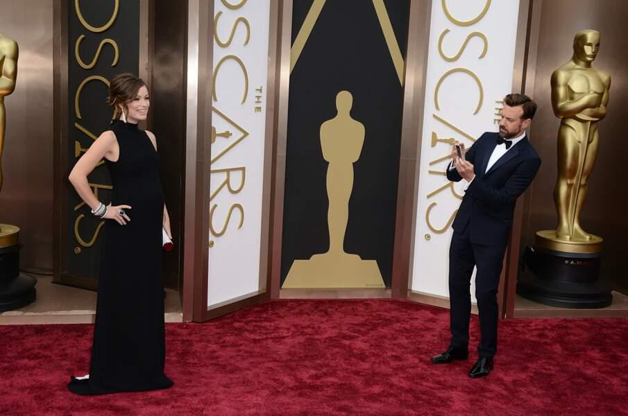 Olivia Wilde et son mari Jason Sudeikis lors de la 86e cérémonie des Oscars.