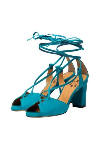 Sandales Stéphanie ouvertes turquoises 3/4, 190€, Être Amis