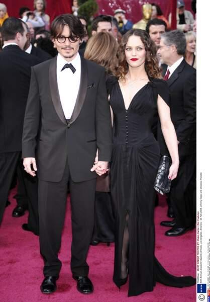 Johnny Depp et Vanessa Paradis lors de la 80e cérémonie des Oscars.