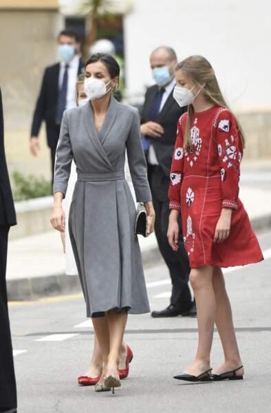 La reine Letizia d'Espagne et la princesse Leonor assiste au lancement du sous-marin 'Isaac Peral' à Carthagène, Espagne, ce jeudi 22 avril
