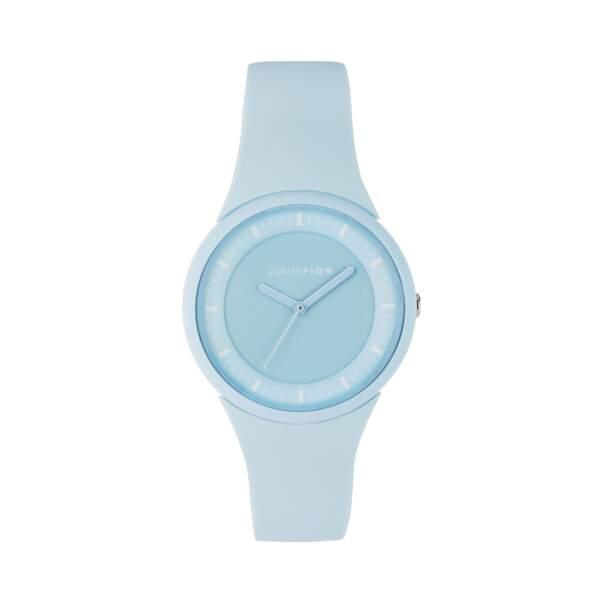 Montre à braclet en silicone bleu ciel, 35€, Louis Pion