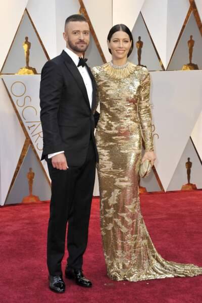 Justin Timberlake et sa femme Jessica Biel lors de la 89e cérémonie des Oscars.