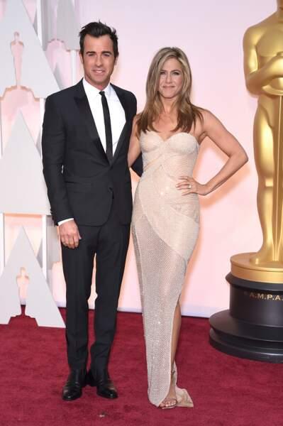 Justin Theroux et Jennifer Aniston lors de la 87e cérémonie des Oscars.