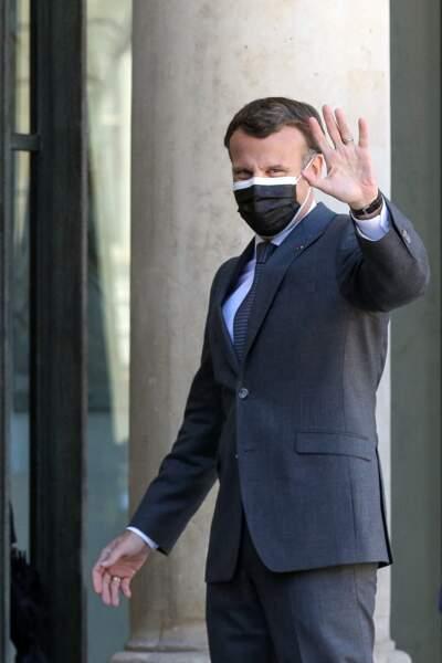 Emmanuel Macron au palais de l'Elysée à Paris, le 26 avril 2021
