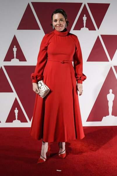 Olivia Colman en robe Dior Haute Couture et bijoux Chopard lors de la 93e cérémonie des Oscars le 25 avril 2021.