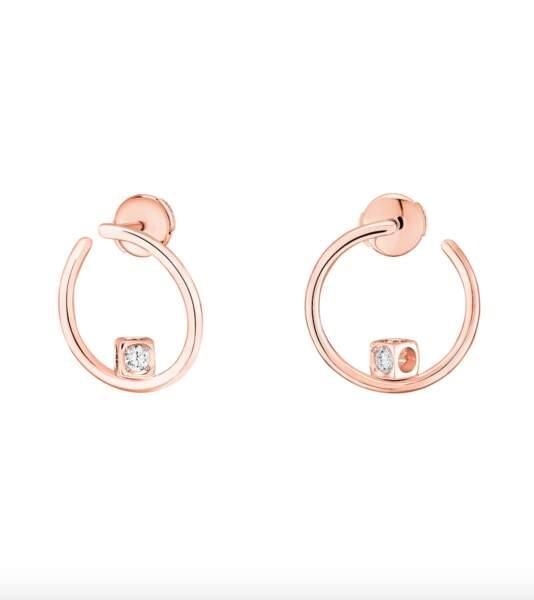 Créoles le cube diamant or rose, 1380€, Dinh Van