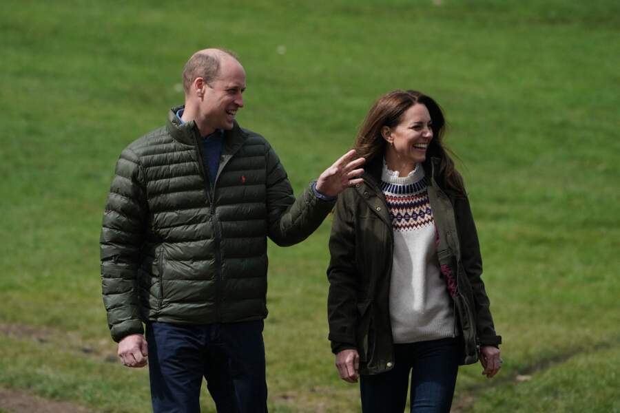Le prince William, duc de Cambridge, et Catherine Middleton, duchesse de Cambridge, visitent la ferme du manoir à Little Stainton, Royaume Uni, le 27 avril 2021.